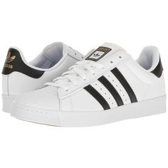 adidas Skateboarding Superstar Vulc ADV (White/Black/White) Skate... (€67) ❤ liked on Polyvore featuring shoes, sneakers, adidas, zapatos, skate shoes, breathable shoes, white and black shoes, white shoes and black and white stripe shoes
