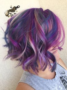 Stunning Purple Hair Color Styles 63 Purple Hair Color Ideas To Swoon Over: Violet & Purple Ha Dyed Hair Purple, Hair Color Purple, Cool Hair Color, Winter Hair Color Short, Blue Hair, Short Purple Hair, Violet Hair Colors, Creative Hair Color, Color Blue