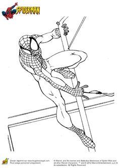 Image de Spiderman s'accrochant à un poteau, coloriage pour enfants