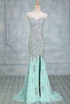 Prom Dress Fitted, High Quality Mermaid Rhinestones Long Prom Dress Sexy Sweetheart Front Split Mint Chiffon Trumpet Prom Dresses There are delicate lace prom dresses with sleeves, dazzling sequin ball gowns, and opulently beaded mermaid dresses. Mint Prom Dresses, Mermaid Prom Dresses, Homecoming Dresses, Pretty Dresses, Bridesmaid Dresses, Formal Dresses, Dress Prom, Prom Gowns, Dresses 2016