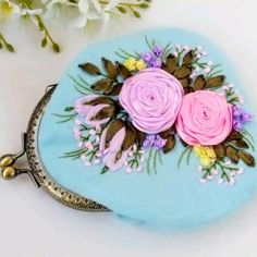 Embroidery Purse, Coin Purse, Gardening, Couture, Purses, Wallet, Floral, Bias Tape, Embroidery