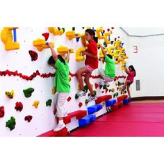 Korkat, Inc. :: Adaptive Wall Panels High w/holds) Climbing Walls- ECI Adaptive Pnl The Adaptive Wall, with its companion Activity Guide, can help instructors effectively include youth with special needs in their climbing program. Kindergarten Interior, Kindergarten Design, Indoor Play Areas, Indoor Gym, Playroom Design, Playroom Decor, Playroom Ideas, Wall Decor, Kids Play Area