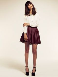 Leather Burgundy Skater Skirt with Laser Cut Detail