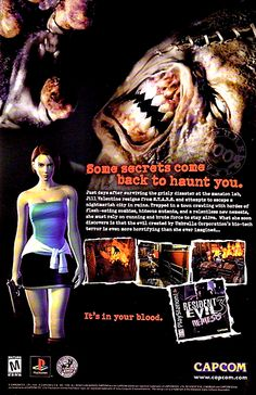 Resident Evil Nemesis was the last game in the series to appear on the PlayStation. Classic Video Games, Retro Video Games, Video Game Music, Resident Evil Video Game, Resident Evil Girl, Video Game Posters, Nostalgia, Jill Valentine, Old Computers