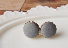 Grey fabric button studs simple modern earrings by NestBirdDesigns