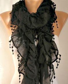 Infinity Scarf  scarf shawl    Free scarf  Black Ruffle by anils, $19.90