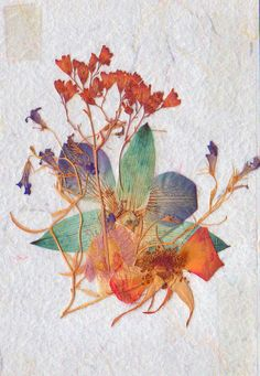 Original 4 X 6 Dried/Pressed Flower Mixed Media Composition, $34.00