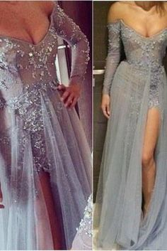 Charming Prom Dress,Off The Shoulder Prom Dress,A-Line Prom Dress,Appliques Prom Dress,Long-Sleeves Prom Dress,PD1700075