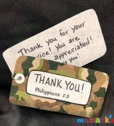 November is a great time to show someone you are thankful for them (anytime will work!). Here's an idea to thank the military service people in your life. It would work for teachers too. For more detailed instructions visit mrmarksclassroom.com, #ThankAVeteran #ThankATeacher #KidMinistry #MrMarksClassroom Mission Projects, Military Service, Glue Dots, Give Thanks, Scrapbook Paper, Teacher Gifts, Holiday Ideas, Appreciation, Crafts For Kids