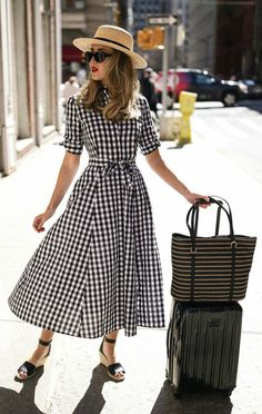Click for outfit details! // Short sleeve black and white gingham midi dress, black suede wedge sandals, wide brim tan bolero straw hat, black oval sunglasses, black and white straw tote {Calvin Klein, Vince Camuto, Tumi, vacation style, classic outfits,