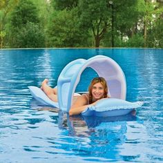 Pool Central Sunpro Inflatable Swimming Pool Mattress Raft Float with Removable Sun Canopy - Blue Swimming Gear, Swimming Pools, Cedar Hedge, Pool Rafts, Sun Canopy, Canopy Design, Water Retention, Pool Floats, Landscaping With Rocks