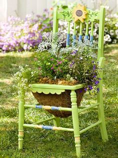Restored old chair planter. My chair is blue. Garden Chairs, Garden Planters, Garden Bed, Balcony Garden, Corner Garden, Garden Path, Green Garden, Easy Garden, Chair Planter