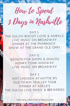 Plan the perfect long weekend in Nashville, Tennessee with this itinerary and city guide. From the bars on Broadway to hot dining spots like Hattie B's, you'll discover the best things to do and see in Music City. Nashville Things To Do, Weekend In Nashville, Nashville Vacation, Tennessee Vacation, Christmas In Nashville, Nashville Bars, Nashville Murals, Visit Nashville, Nashville Music
