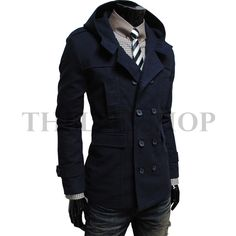 (ALM-NAVY) Mens casual double slim cotton hood trench coat