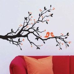 Amazon.com: WallStickersUSA Contemporary Wall Sticker Decal, Tree Branches, Leaves, Lovebirds, and Hearts, X-Large: Baby