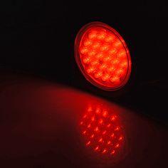 "2pcs 4"" Round RED 24-LED Brake Stop Running STROBE Tail Light Grommet Plug Kit Truck Trailer UTE UTV #astradepot #trailer #truck #trailertailight #trucktaillight #trucklight #taillight #brakelight #turnsignallights #backuplight #strobelight #trucklights #strobing #flashinglights #van #surfacemount #emergencystrobelight #emergencylights #warninglight #lightbar #flashpatterns Strobe Light, Strobing, Tail Light, Bar Lighting, Plugs, Trucks, Running, Corks, Keep Running"