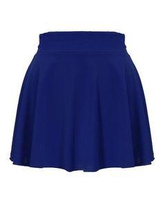 Elegant Thick High Waist Plain Pleated Flared Mini Skater Skirt