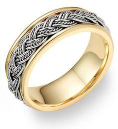 ApplesofGold.com - Braided Wedding Band Ring - 14K Two-Tone Gold