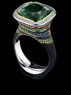 Jewellery Theatre ART STONES RING  Ref: AS1 029 WBF12346 18K White Gold  emerald diamonds rubies tsavorites