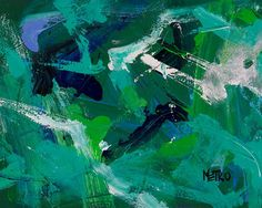 """Seafoam - Abstract Painting - Painted by Retired Racehorse  Benefits Charity 11x14"""""""