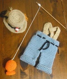 Baby Fisherman Gone Fishing Crocheted Photo Prop by MeemawsMarket, $25.00  This is one of my bigest selllers on Etsy.  I was wanting feedback on new ideas and ways to make it better, thanks!