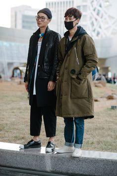 Street style: Seo Hong Seok and Kim Pil Su at Seoul Fashion Week Spring 2015 shot by Alex Finch