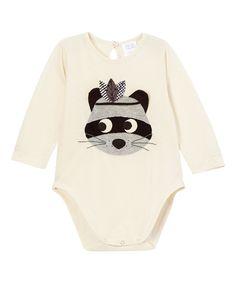 Look what I found on #zulily! Victoria Kids Ecru Raccoon Appliqué Bodysuit - Infant by Victoria Kids #zulilyfinds