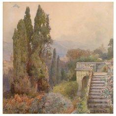 """Ettore Roesler Franz """"Terrace of Villa D'este, Tivoli"""" 1"""