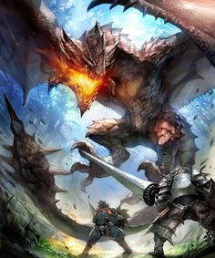 This monster is called a Rathalos and it is a giant Wyvern that can breathe…