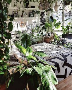 Room Design Bedroom, Room Ideas Bedroom, Dream Bedroom, Bedroom Plants Decor, Jungle Bedroom, Natural Bedroom, Mug Design, Room With Plants, Inspiration Design