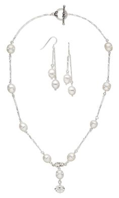 Single-Strand Necklace and Earring Set with Cultured Freshwater Pearls with Swarovski Crystal Chatons, Swarovski Crystal Beads and Sterling Silver Links