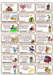 English worksheet: American & British culture Game cards (set 1)
