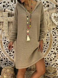 Long Sleeve Hoodie Knitted Casual Dress Shop missarty - Gray Long Sleeve Knitted Casual Acrylic Miss Fashion Models, Fashion Outfits, Dress Fashion, Women's Fashion, Hoodie Dress, Casual Sweaters, Oversized Sweaters, Ladies Dress Design, Everyday Outfits