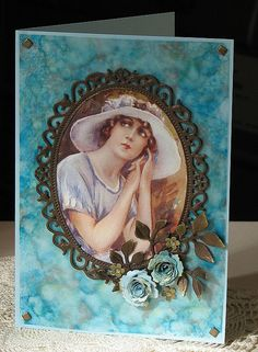 Alcohol ink on acetate background, floral oval, mini royal roses, image from decoupage magazine.