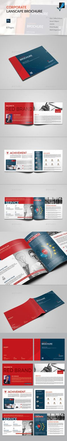 8 Pages Landscape Corporate Brochure Design - Corporate Brochure Template PSD. Download here: http://graphicriver.net/item/8-pages-landscape-corporate-brochure/16775933?s_rank=364&ref=yinkira