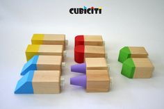 Cubiciti Blocks - Buildings - Natural Green Wooden Toys via Etsy