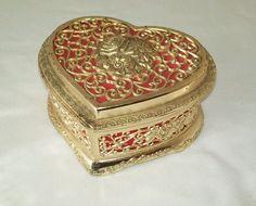 Vintage Japan filigree heart shaped  roses jewelry casket