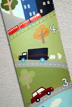Custom Growth Chart Canvas Transportation Rocket Cars Trains Boats by SweetDreamMurals on Etsy