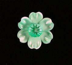 Vintage Enamel Flower Brooch Seafoam Green by KatsCache on Etsy