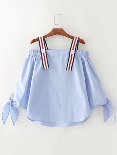 Dotfashion Blue Cold Shoulder Tie Cuff Tunic Blouse 2017 Autumn Long Sleeve Casual Blouse Women's Cute Top With Botton Girls Fashion Clothes, Teen Fashion Outfits, Girl Fashion, Fashion Dresses, Womens Fashion, Crop Top Outfits, Cute Casual Outfits, Stylish Dresses For Girls, Mode Style