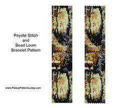 This bracelet pattern is for peyote stitch or bead loom weaving, using a Delica 11/0 seed bead palette. There are 9 colors. Just print out the version you want to use.  Image of bracelet, easy to read bead graph, bead legend and word chart included. Measures 1.06 x 6.57, leaving room for a clasp.  Patterns not to be reproduced or distributed in any way. They are for your personal use to make for yourself or to sell the FINISHED bracelet, not the pattern.