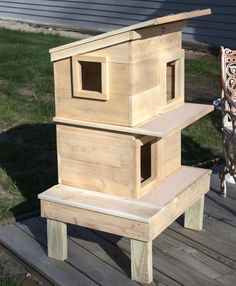 Cat House - Double Decker Feral Cat Shelter, Feral Cat House, Outdoor Cat Shelter, Outdoor Cats, Feral Cats, Animal Shelter, Cat Shelters, Cat House Outdoor, Outdoor Sheds