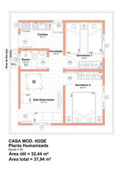 casa planta 36m2 2 Bedroom House Plans, Modern House Plans, Small House Plans, House Floor Plans, House Front Design, Small House Design, Home Design Plans, Plan Design, 20x40 House Plans