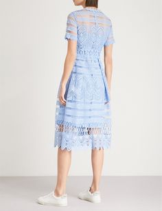 MAJE - Embroidered lace dress   Selfridges.com Lace Embroidery, Embroidered Lace, Biker Boots, Maje, Parisian, Lace Dress, Zip Ups, Awards, Short Sleeve Dresses
