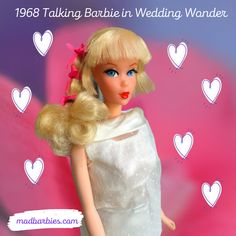 In 1968, king Barbie found her voice! New technology allowed her to talk with a pink flower pull-string behind her neck. She suggested fun things to do to inspire hours of play. She chats about fashion, prom, shopping, parties and dates. Collectors score when they find a vintage talker than can still speak! #TalkingBarbie #1968TalkingBarbie #60sBarbies #ModBarbie #VintageBarbie #dollcollecting #Barbie #60sDolls Vintage Barbie, Pretty Hairstyles, Fun Things, Fashion Dolls, Pink Flowers, Dates, Inspire, Prom, King