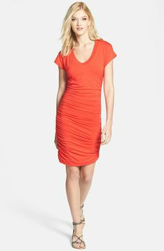 Want.  Splendid Ruched V-Neck Jersey Dress available at #Nordstrom