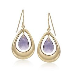 These 4.80 ct. t.w. amethyst drop dangle earrings will bring a splash of punch to your look. They feature pear-shaped drops suspended in chic oval frames. >>Click on the Amethyst Earrings for more styles from Ross-Simons.