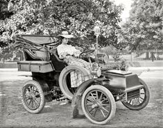 """Cadillac Model B Runabout Washington, D.C. circa 1908. """"Miss Corine Murphy in auto. From Shorpy."""
