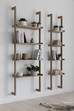 Regal Braun ladder rack, wall shelf - Decoration For Home Wooden Shelves, Wall Shelves, Floating Shelves, Wood Shelf, Built In Shelves, Ladder Shelves, Wood Ladder, Wall Racks, Book Shelves