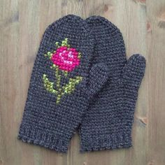 tunisian crochet mittens with embroidery